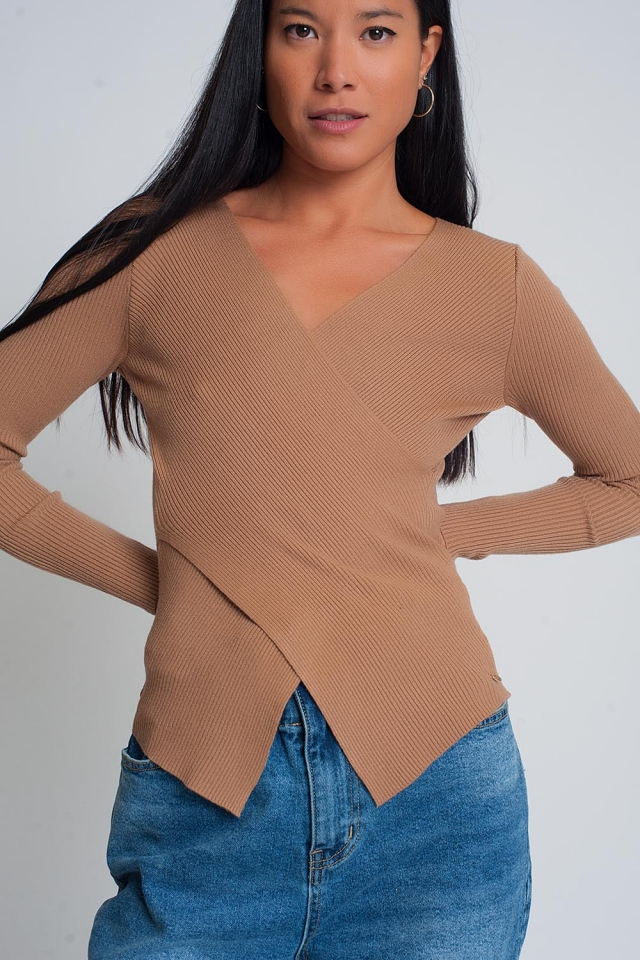 Brown ribbed wrap sweater with v-neck