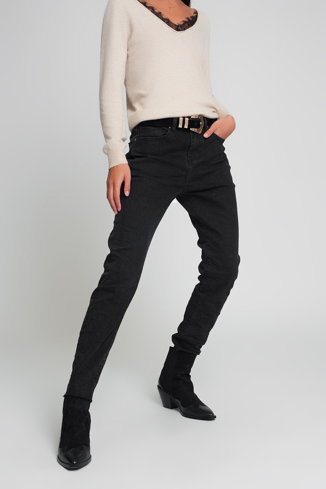 High waisted mom jeans in black