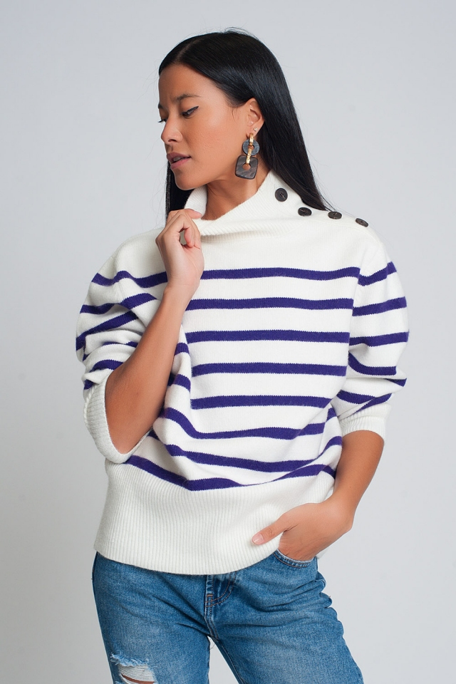 Striped sweater with button detail in purple