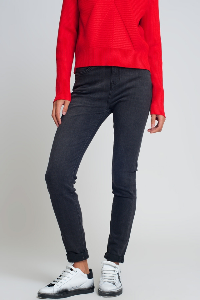 High waisted skinny jeans in black