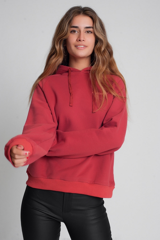 Sweatshirt with text print in maroon