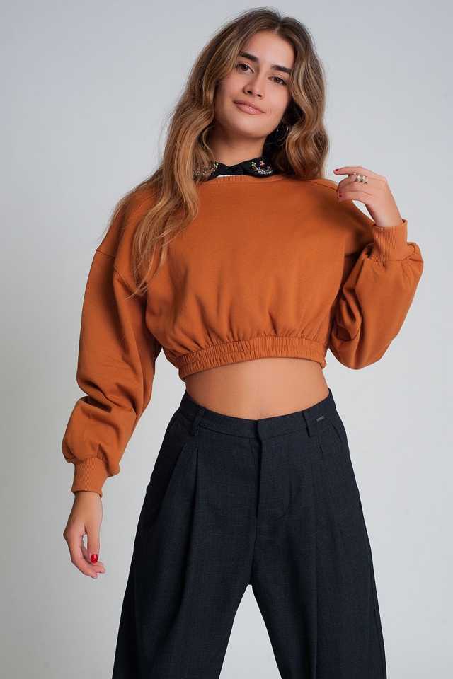 Oversized cropped sweatshirt in camel