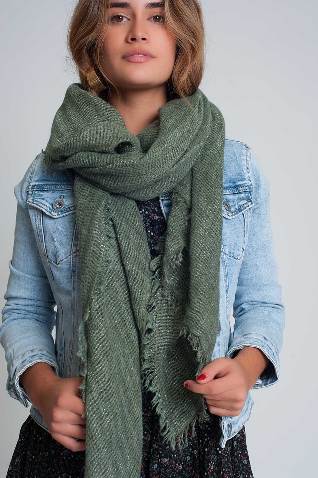 Lightweight knitted scarf in green