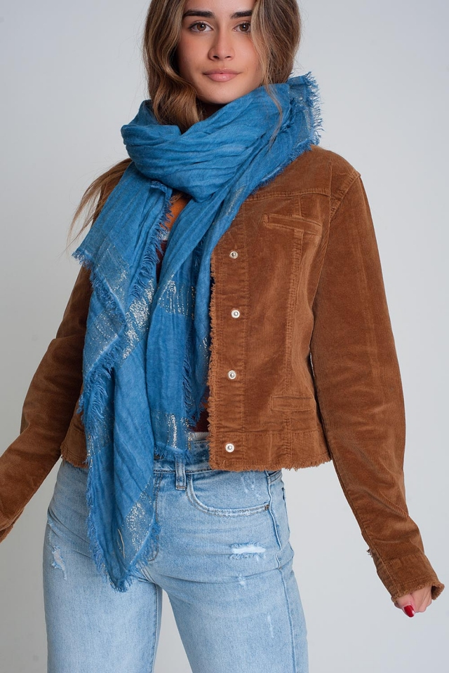Lightweight scarf in blue with gold stripes