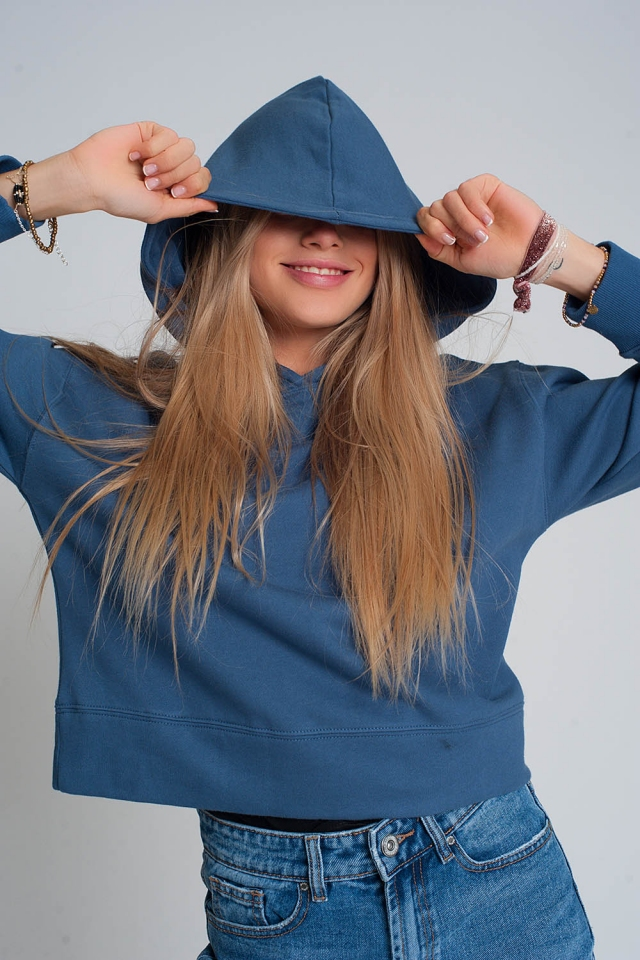 Hooded sweatshirt in blue
