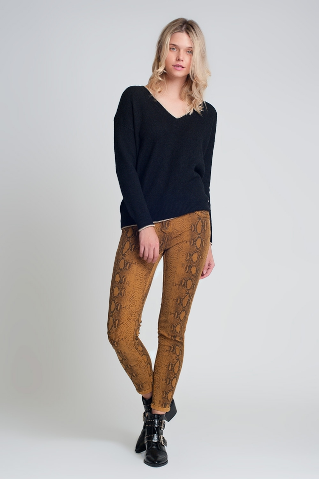 Mustard super skinny reversible pants with snake print