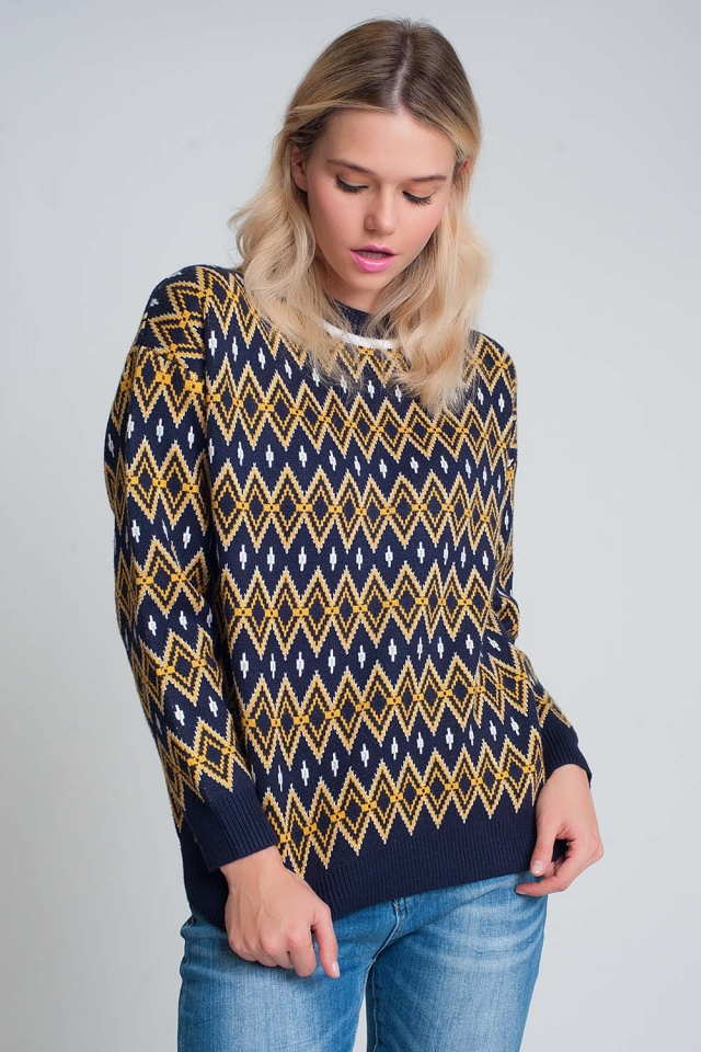 Diamond design sweater in navy multicolour
