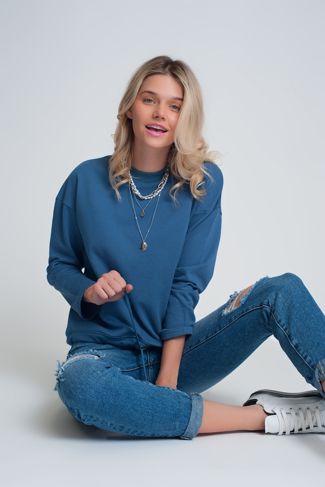 Cotton drawstring sweatshirt in blue