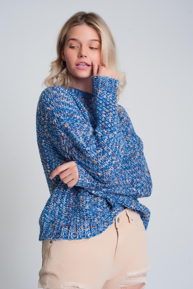 Blue marble coarse knit sweater