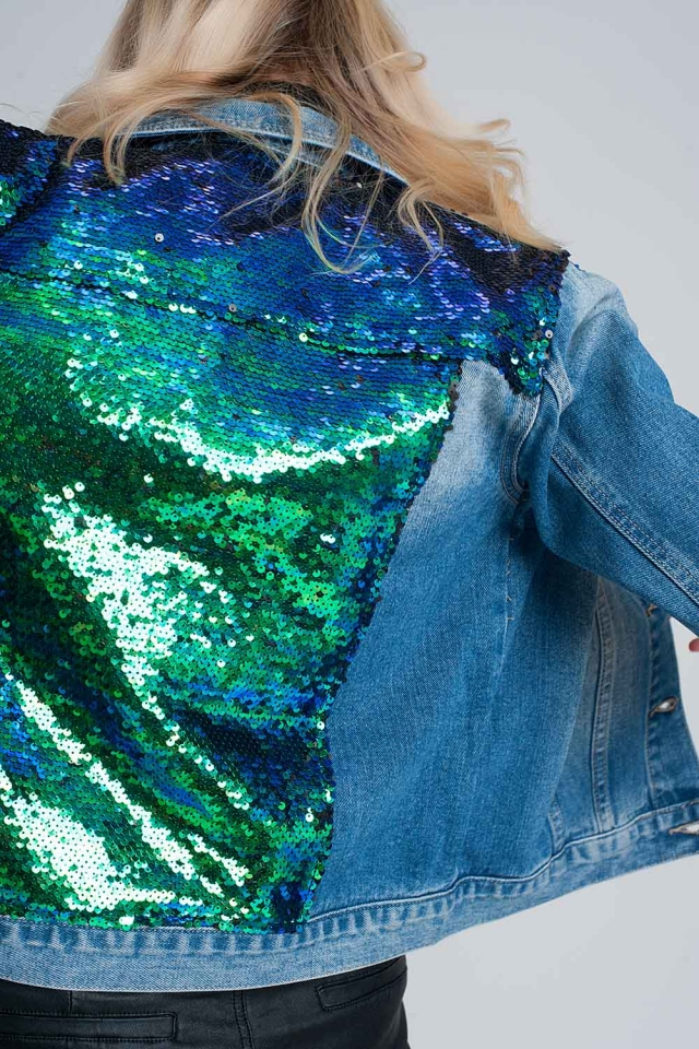 Blue sequined denim jacket
