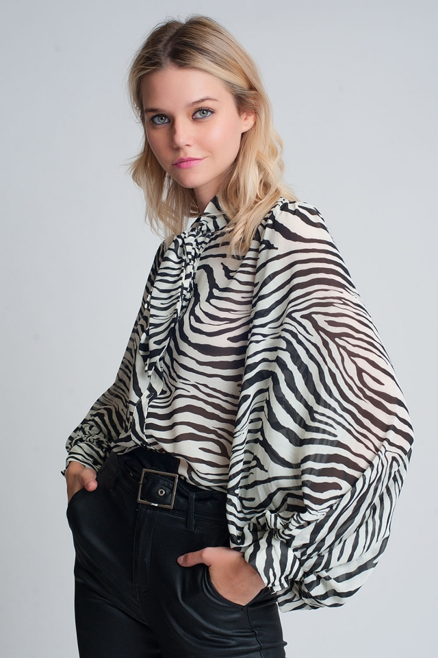 Relaxed shirt with volume sleeves in zebra