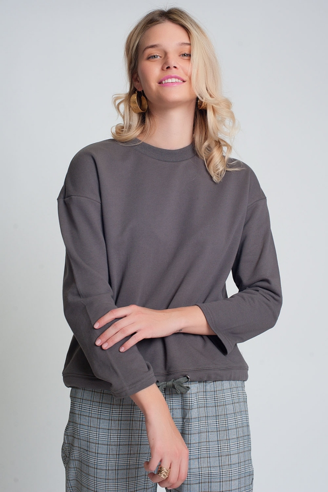 Cotton drawstring sweatshirt in gray