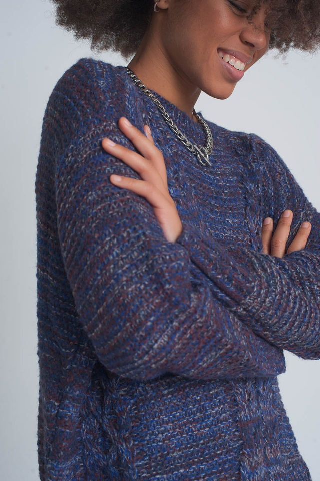 Round neck cable jumper in purple