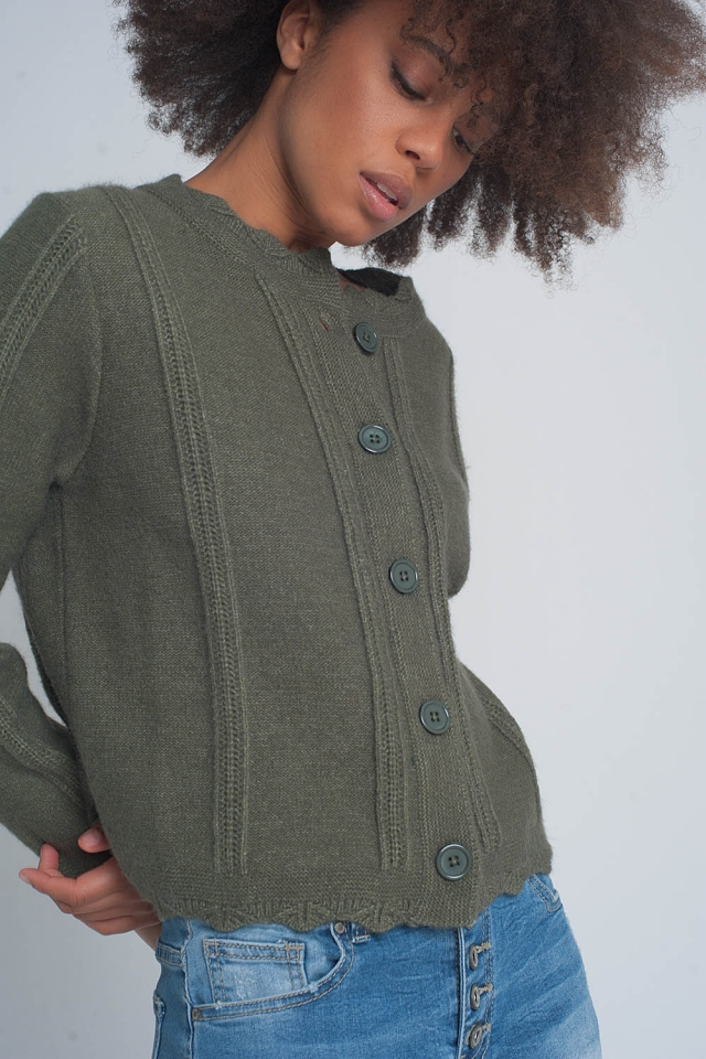 Vintage inspired button front crop 90s cardi in khaki