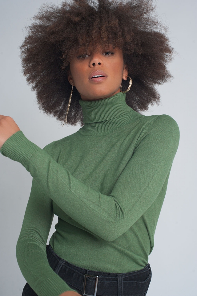 Essentials roll neck jumper in green