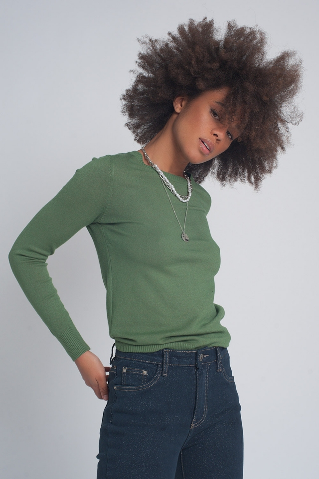 Green plain crew neck knit jumper