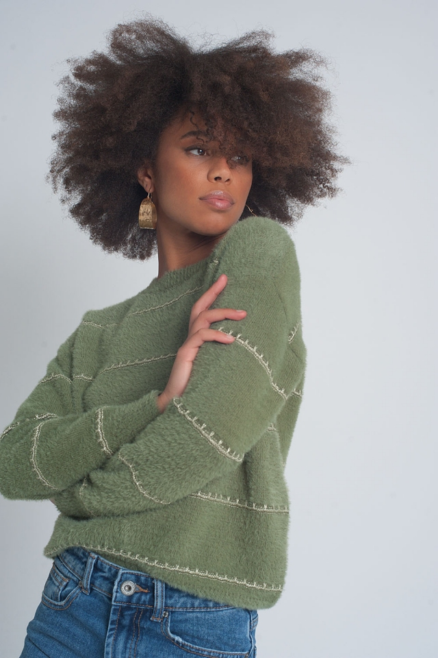 Fluffy textured knit jumper in khaki twist
