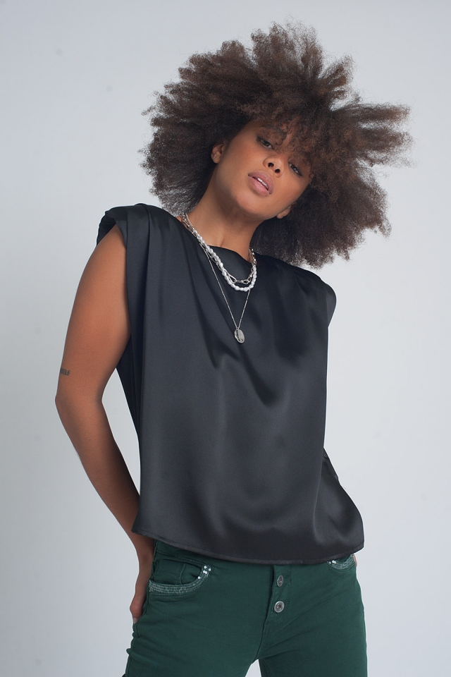 Gathered satin shoulder pad sleeveless top in black