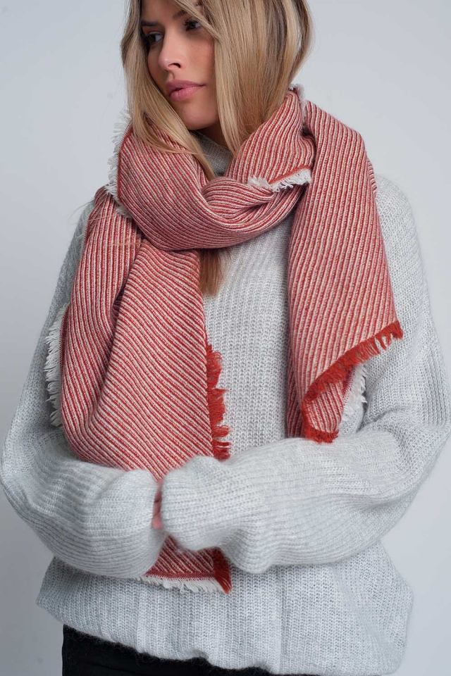 Oversized red frayed scarf