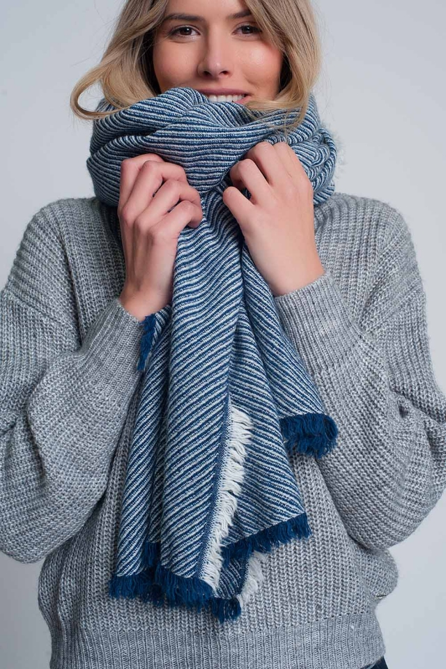 Oversized blue frayed scarf