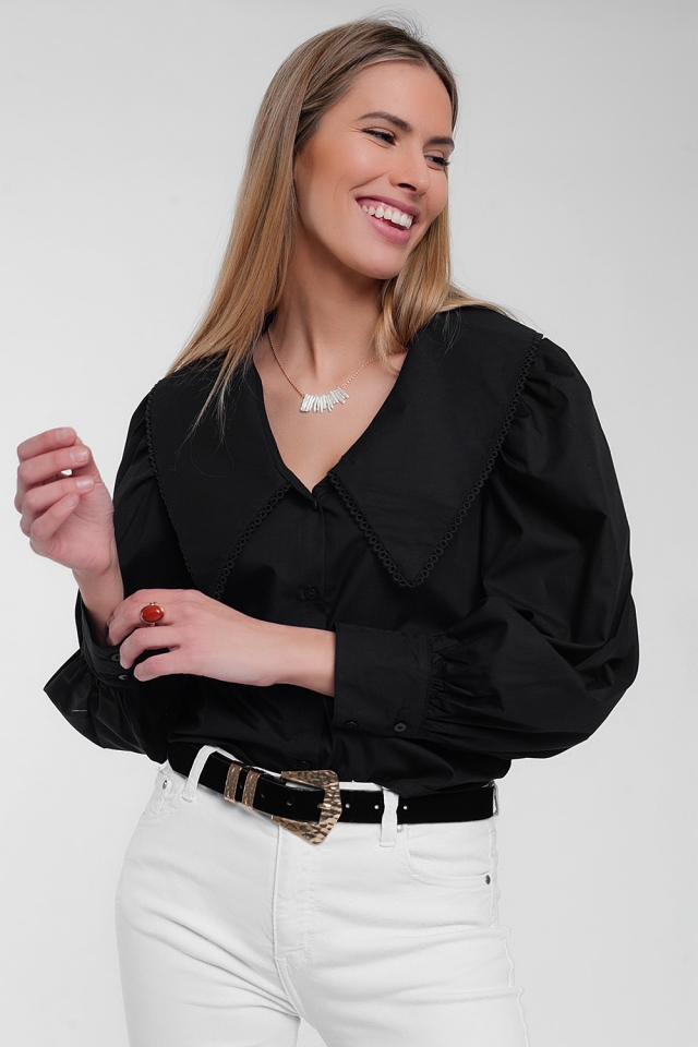 Oversized collared shirt in black