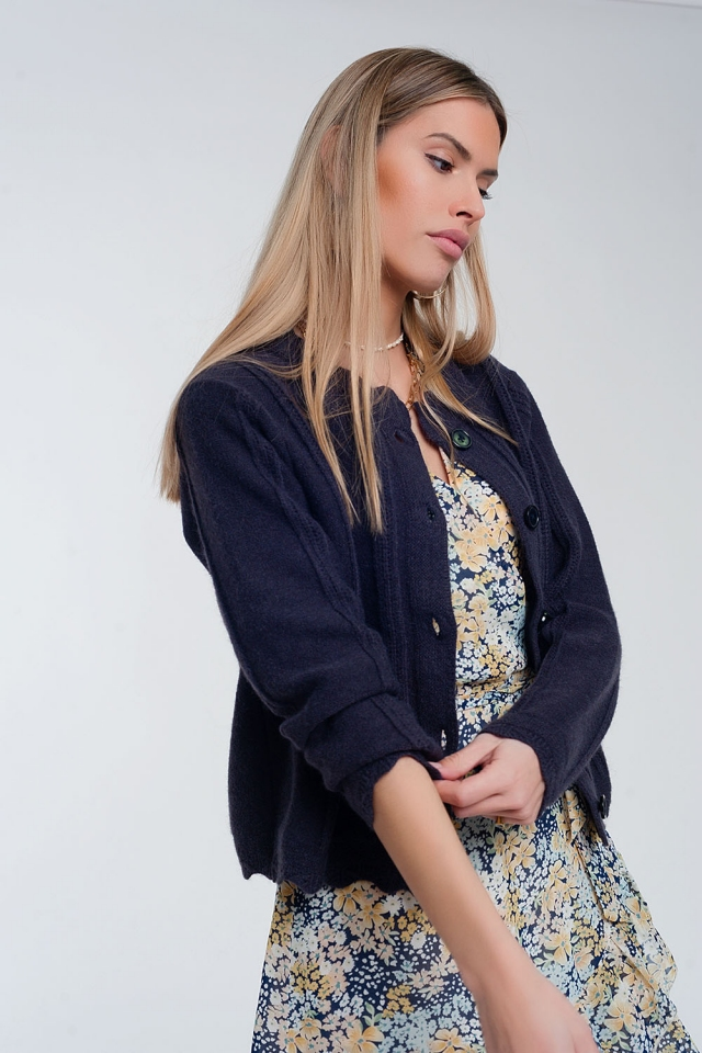 Vintage inspired button front crop 90s cardi in navy
