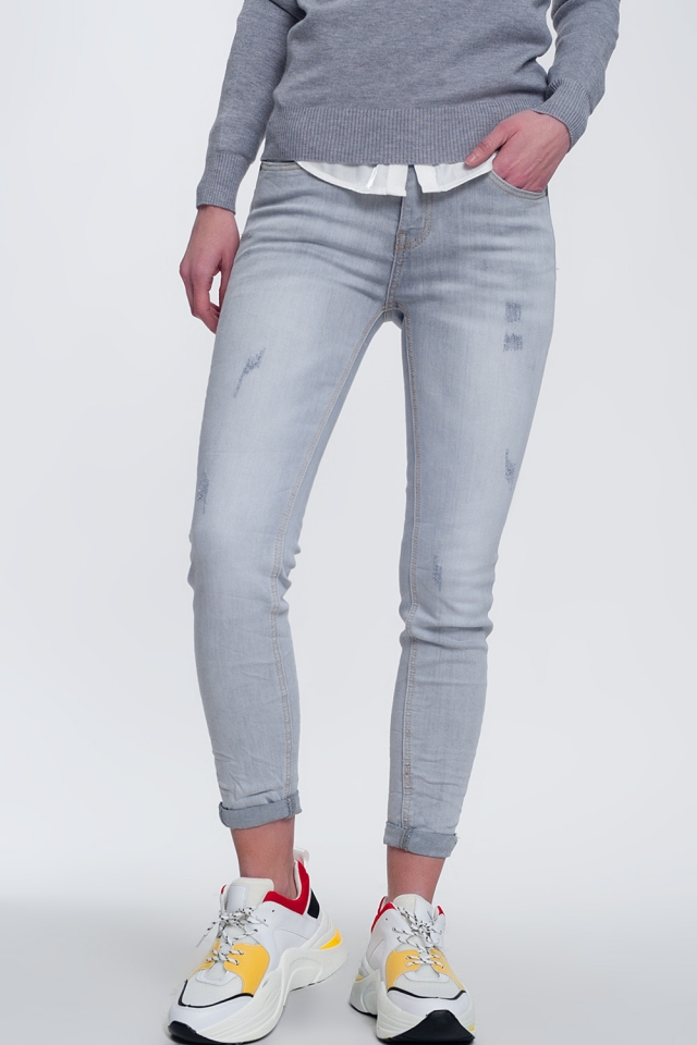 Skinny fit jeans in fade to grey