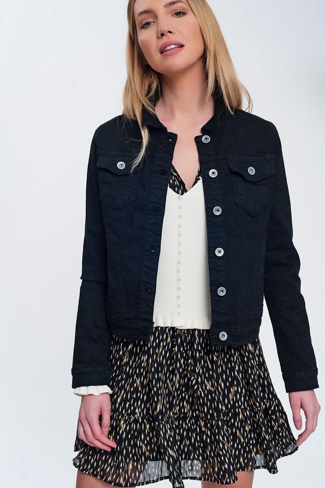 Slim denim trucker jacket in black