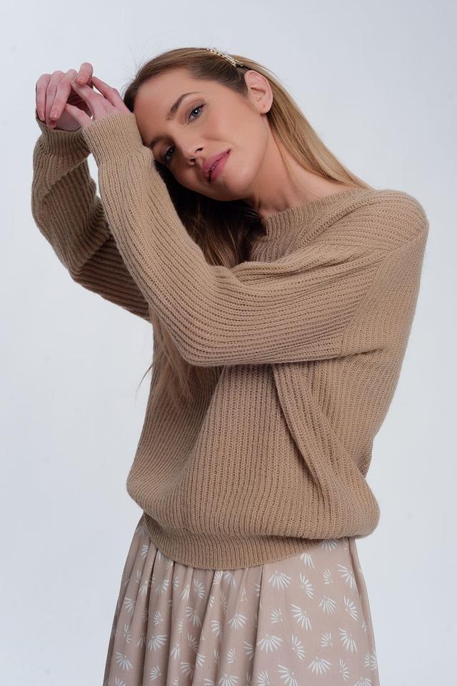 Ribbed jumper in light beige