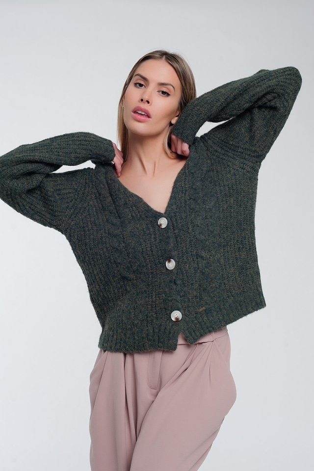 Chunky knit cardigan in khaki