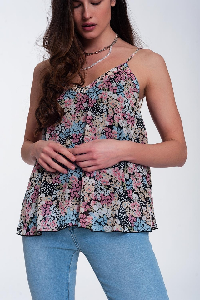 Black floral v front cami top