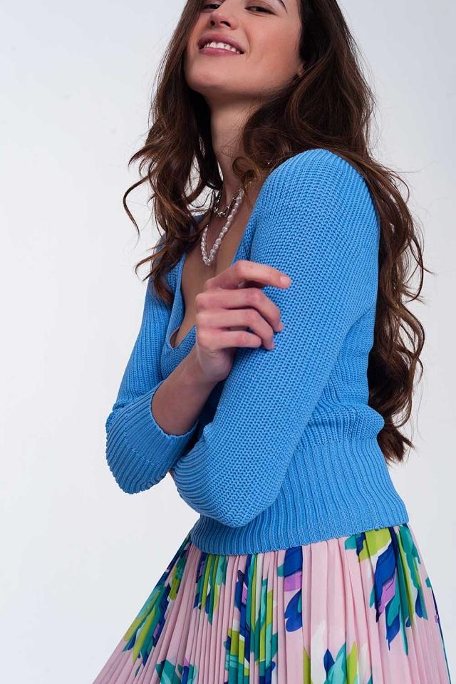 Crochet knit jumper in blue
