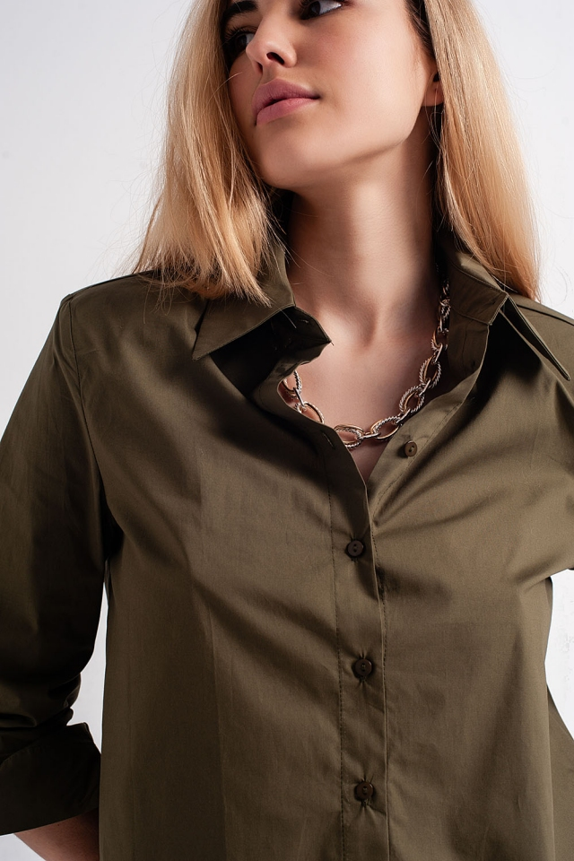 long sleeve shirt with shoulder pads in khaki