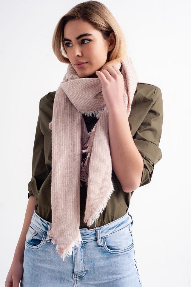 Oversized pink frayed scarf