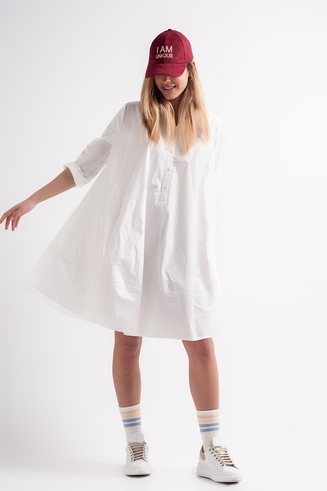 Cotton poplin oversized smock dress in white