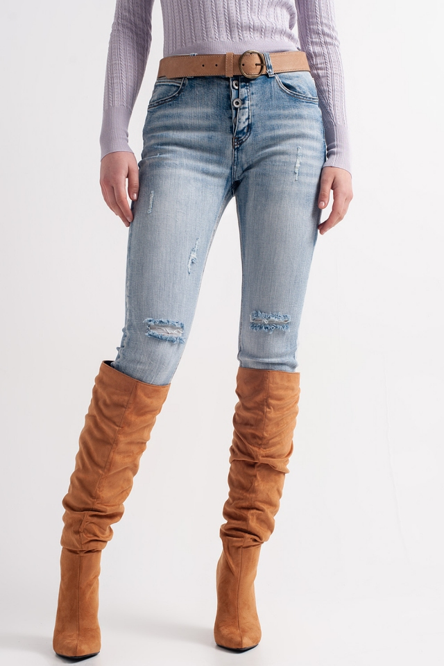 Heather straight leg distressed jeans with button detail in light blue