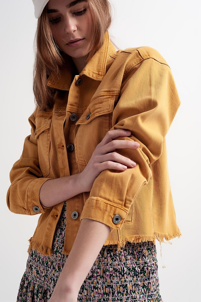 Raw hem denim jacket in mustard