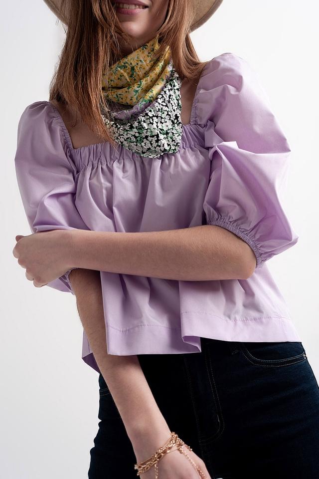 Poplin balloon sleeve top in purple