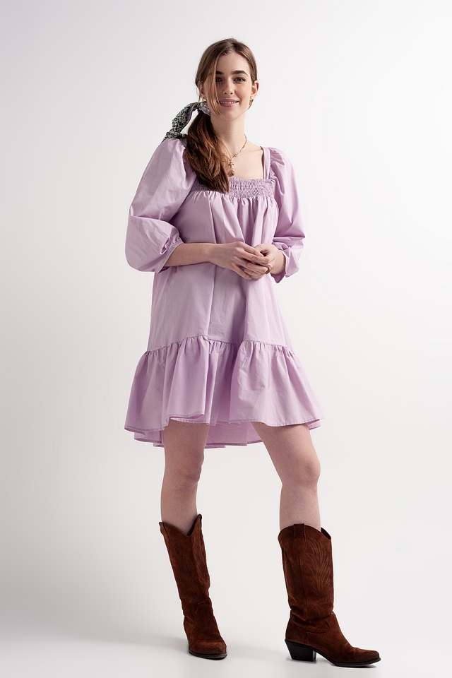 Cotton poplin mini smock dress with pephem in purple