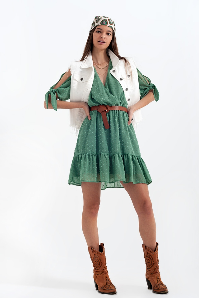 Tie sleeve mini dress in green