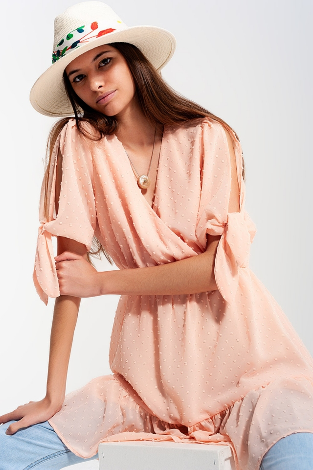 Tie sleeve mini dress in pink