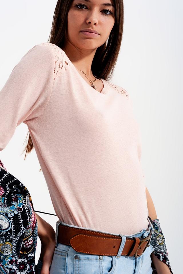 3/4 length sleeve plain pink top with crochet Insert