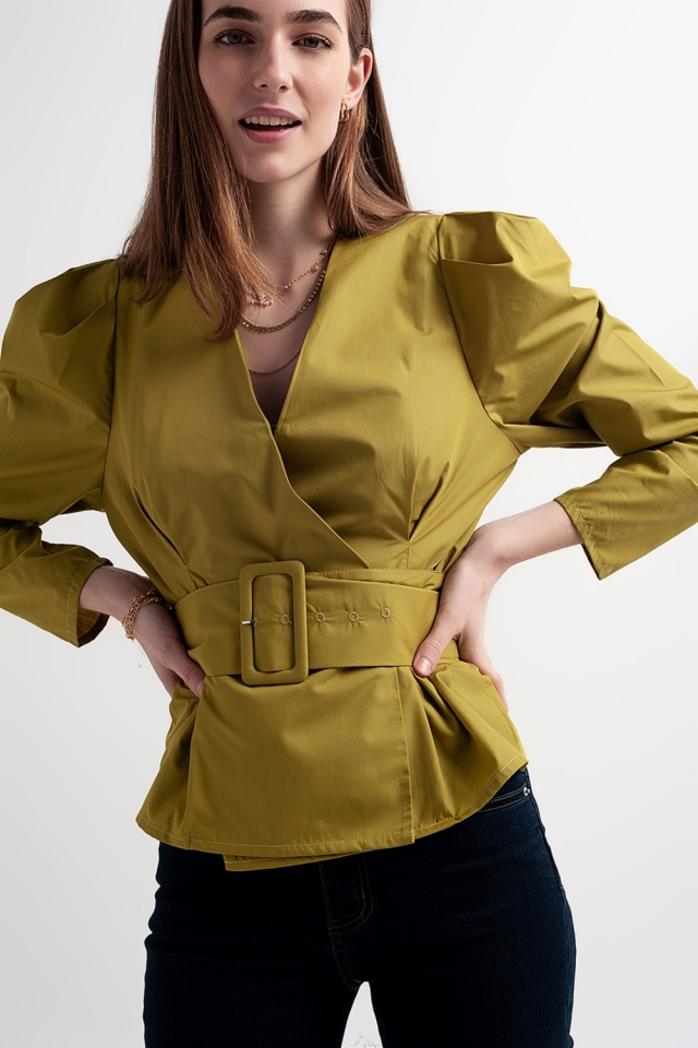 Puff sleeve wrap front top with belt detail in green