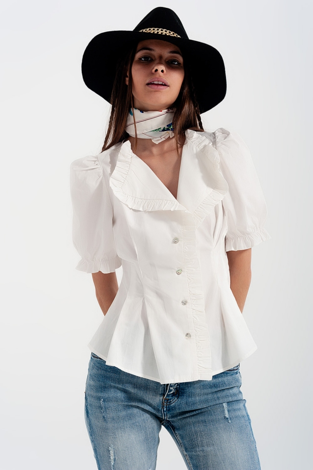 Poplin frill detail wrap blouse in cream