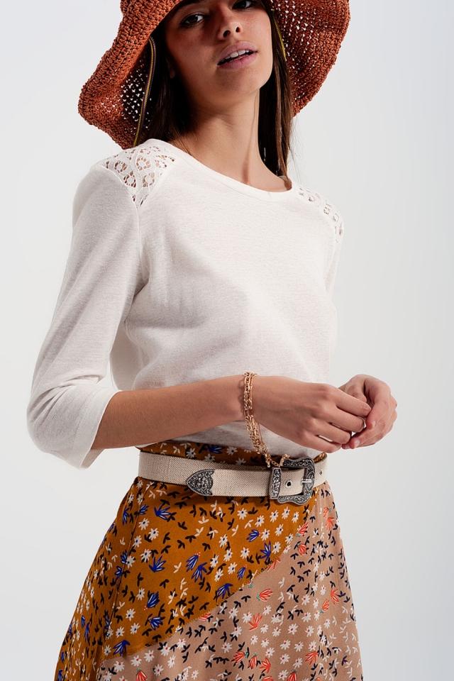 3/4 length sleeve plain cream top with crochet Insert