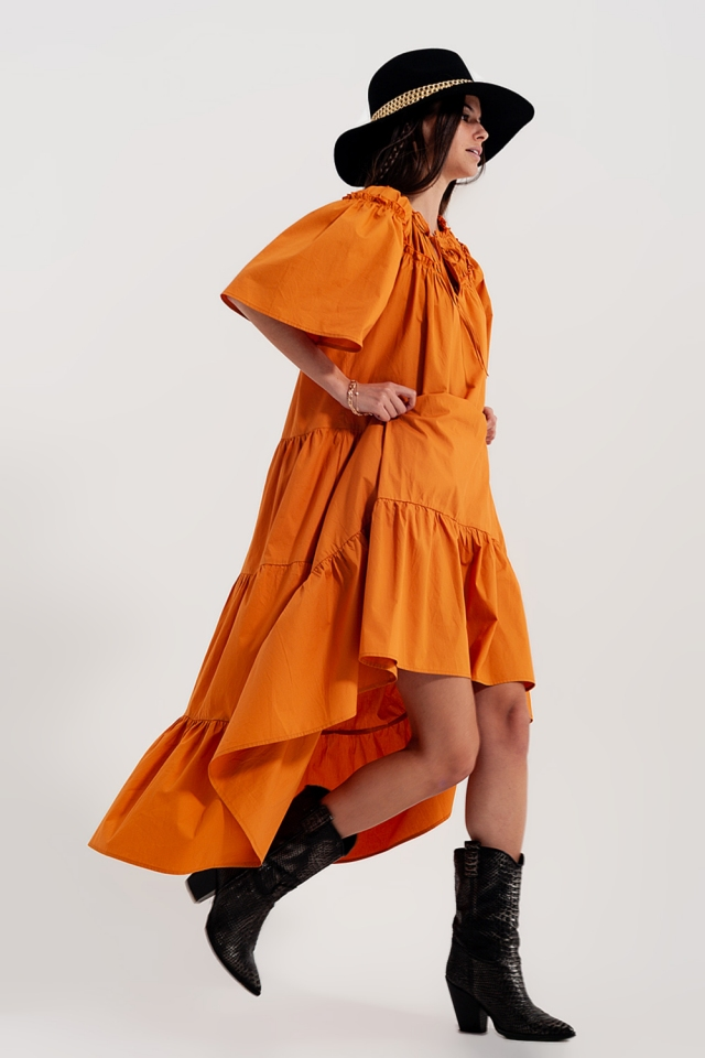 Tiered cotton poplin smock midi dress in orange