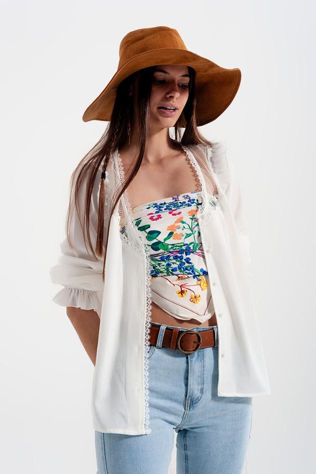 Lace insert shirt in cream