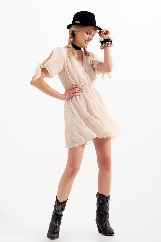 Tie sleeve mini dress in beige