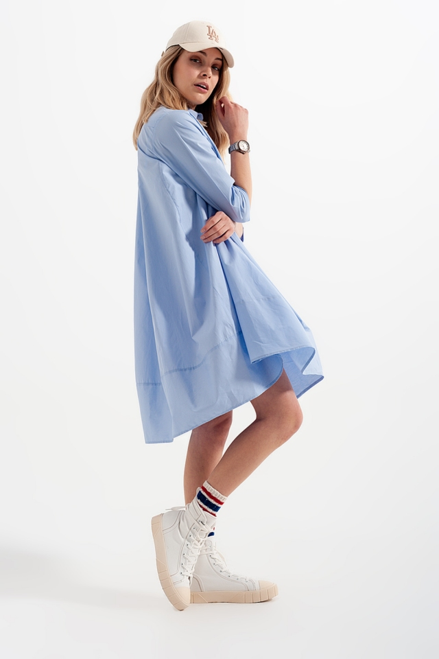 Oversized shirt dress in blue