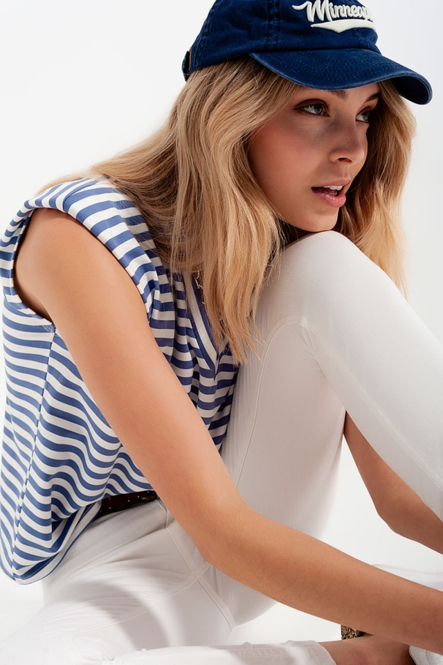 sleeveless t-shirt with shoulder pad in Blue stripe